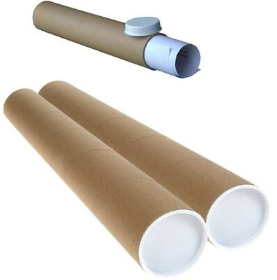 10 Postal Tubes Poster Rolls  Cardboard Strong A1 620Mm X 76Mm+White End Caps