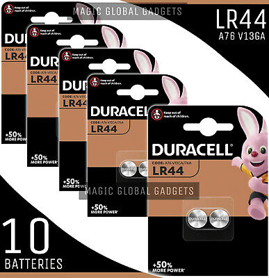 Genuine 10X Duracell Lr44 1.5V Alkaline Button Cell Batteries Lr 44 A76 Hexbug