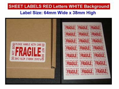 Fragile Please Handle With Care/Do Not Bend A4 Sheet Labels Choose Qty