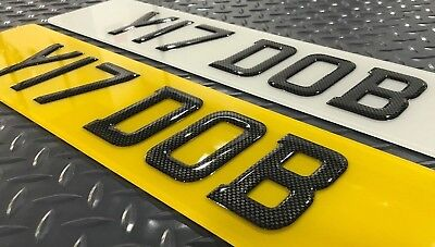 PAIR of 3D Carbon Domed Resin Raised Gel UK Number Licence Plate Plates