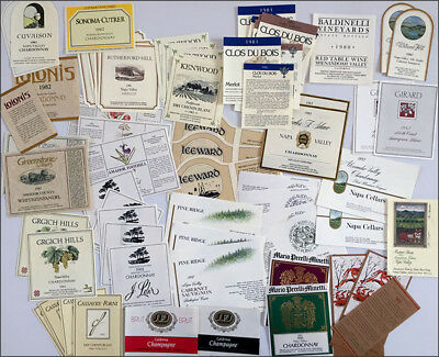 1980's collection unused CALIFORNIA WINE & CHAMPAGNE BOTTLE LABELS - 69 total