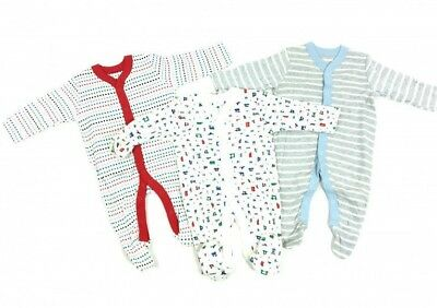 DESIGNED BABYGROW BOYS EX M-S 3 PACK SLEEPSUITS BABYGROWS 3M TO 36M