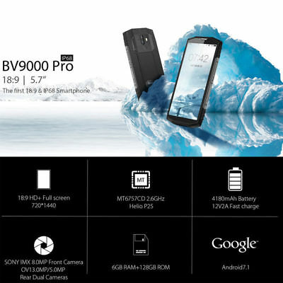 "5.7"" Blackview BV9000 Pro 4G Smartphone 6GB 128GB Android 7.1 Octa-Core Étanche"