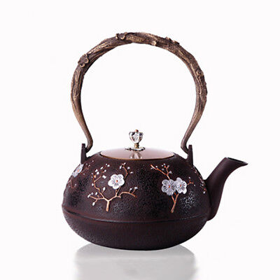 Chinese Style Cast Iron Plum Blossom Teapot Floral Half Handmade Coffee Pot E7L8