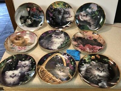 9 FRANKLIN MINT LIMITED BY NANCY MATTHEWS Cat Kitten Plates Puffy Long  Haired