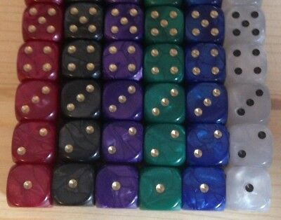 5 x 12mm D6 Dice Pearl, Ideal for Liar Liar, Perudo or Yathzee Pick color