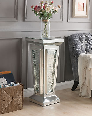 Acme Nysa Pedestal Stand in Mirrored and Faux Crystals Finish 80392