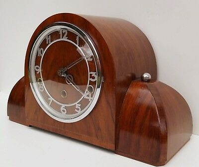 Art Deco Figured Walnut Quarter Chiming Mantle Clock