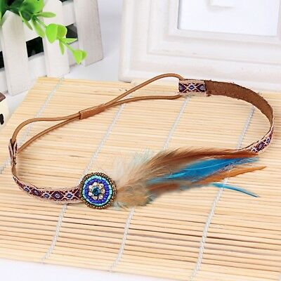 Boho Bohemian Feather Headband Extension Hairpiece Beaded Indian Tribal Hairband