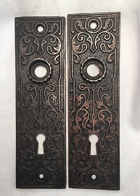 Antique Hardware, Door Plate, 1885, Cast Iron, Ornate, Eastlake Style