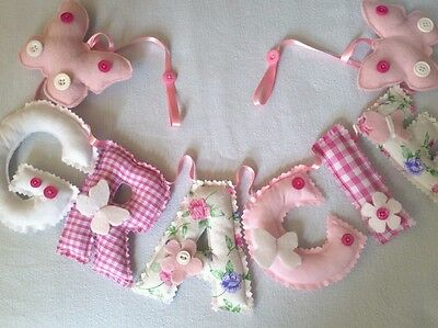 Personalised name wall door banner bunting baby/child nursery PER LETTER or END