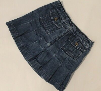Lands End jean skirt pleated girls 6x