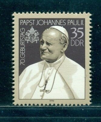 1990 Pope John-Paul II,70th Birth Anniversary,DDR,3337,MNH