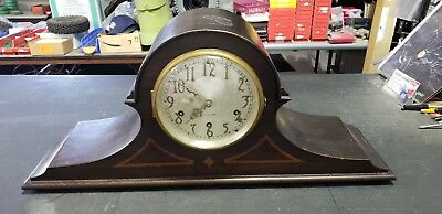 Antique SETH THOMAS Westminster Wood Mantel Clock & Key Vtg No 90 Chime Mvmt 124