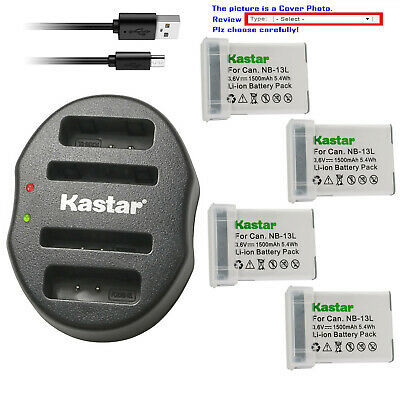 Kastar Battery Dual USB Charger for Canon NB-13L CB-2LH & PowerShot G7 X Mark II