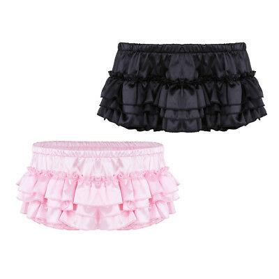 Mens Shiny Satin Ruffled Bloomer Sissy Briefs Bikini Underwear Skirted Panties