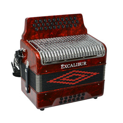 Excalibur Super Classic PSI 3 Row - Button Accordion - Red - Key of FBE