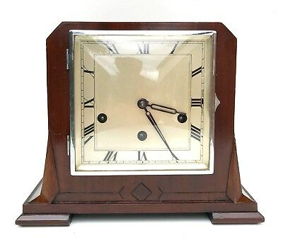 Art Deco Walnut Haller Quarter Chiming Mantle Clock