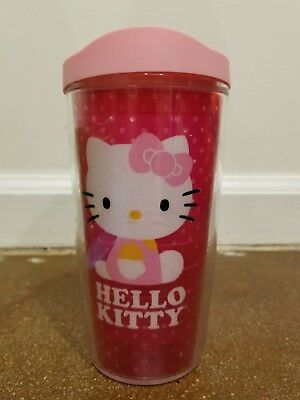 hello kitty tervis cup, pink with lid - slightly used