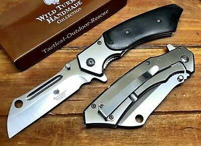"8"" TACTICAL Spring Assisted Open Pocket Knife CLEAVER RAZOR FOLDING Blade RSGDW"