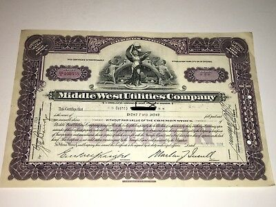 Middle West Utilities Company Stock Certificate - 2 Shares - #490555 - 1931