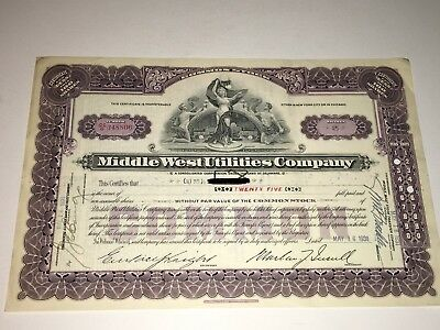 Middle West Utilities Company Stock Certificate - 25 Shares - #348806 - 1931