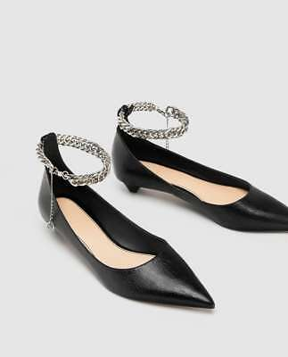 ZARA Detail 42 35 WOMAN BALLERINAS With Strap Chain Ankle WxdCoBer