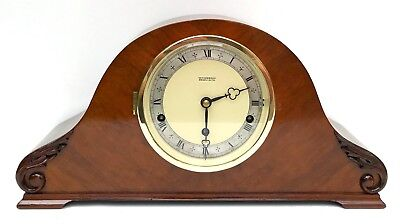 Art Deco Elliott Figured Walnut Quarter Chiming Mantle Clock