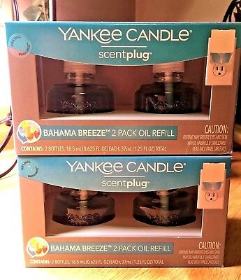 Yankee Candle BAHAMA BREEZE Electric Oil Scent Plug In Refills ~ 4 Bulbs/2 Boxes