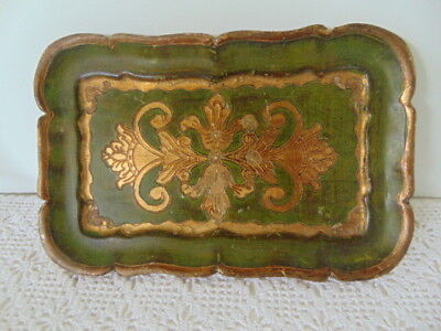 Hollywood Regency Florentine Toleware Wood Tray Green Gold  6 x 9""