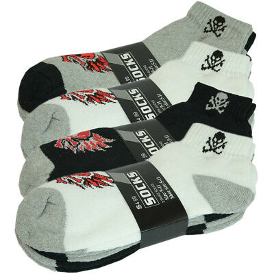 Skull 3 Pairs Mens Ankle Quarter Crew Athletic Sports Socks Cotton Size 10-13