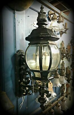 """Exterior Cast Iron & Beveled Glass Sconce ~ """"Story Book"""" House Salvage, 29"""" Tall"""