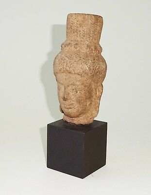 13C Cambodian Khmer Sandstone Carved Buddha Head Fragment Sculpture (Mil)