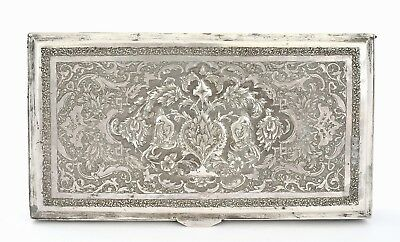 Persian Istanbul Sterling Silver Repousse Box Case Marked 287 Gram