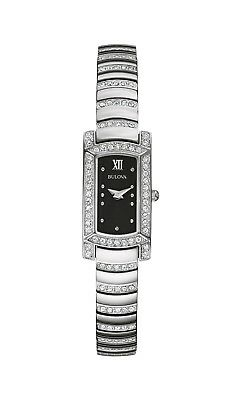 Bulova Crystal Collection Women's Black Dial Silver-Tone 15mm Watch 96L202