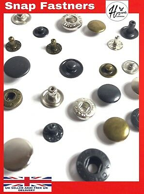 12/15Mm Snap Poppers Fasteners Press Spring Stud Button Leather Craft 10-1000Pcs