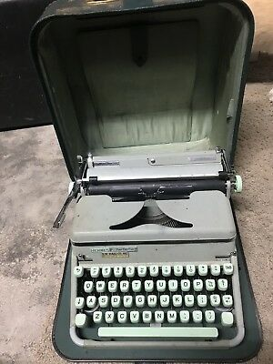 Vintage Hermes 2000 Seafoam Green Typewriter With Case Working