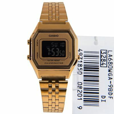 Casio Illuminator Retro Gold Tone Stainless Steel Watches LA680WGA LA680WGA-9B
