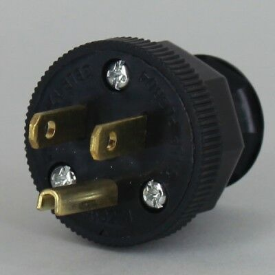 ANTIQUE ~ Vintage Electric Lamp Cord Plug w/ Ground ~ 3 Prong { BLACK } ~ by PLD