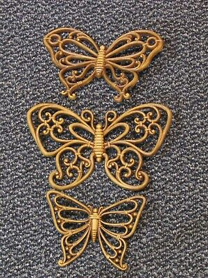 Set of Three Vintage Homco Butterfly Wall Hangings Syroco 1978 70s