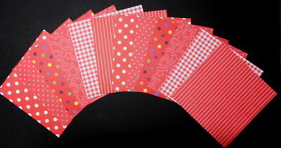 """SHADES OF RED Scrapbooking/Cardmaking Papers ~ 15cm x 15cm ~  (6"""" X 6"""")"""