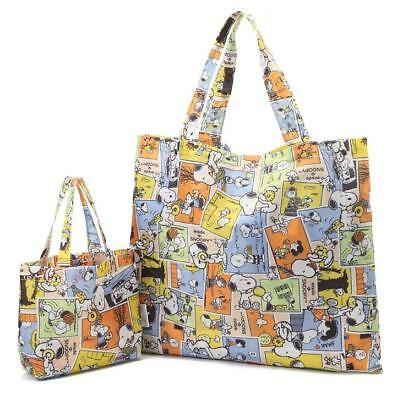 2pcs Super Cute Snoopy Peanuts Cloth Foldable Shopping Bag Tote Bag Handbag Set