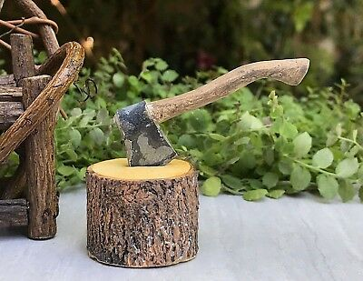 Miniature Dollhouse FAIRY GARDEN Accessories ~ Mini Firewood w Removable Ax NEW
