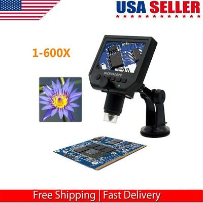 "1-600X Digital Portable HD 3.6MP Microscope Continuous Magnifier 4.3"" Display US"