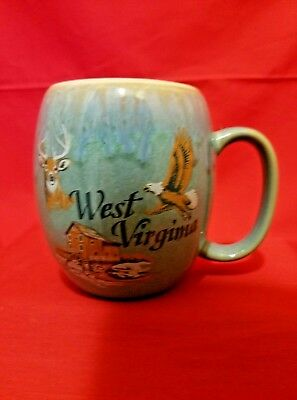 West Virginia Deer Eagle Glaze Coffee Cup Mug Cabin Lodge
