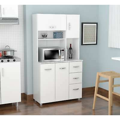 WHITE WOOD TALL Kitchen Microwave Cart Storage Pantry ...