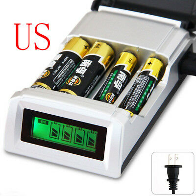 4 Slot Smart Charger For AA/AAA NiCD/NiMH Batteries with LCD Display Charged US