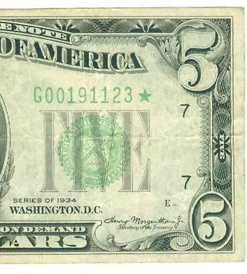 Low Serial # 1934 $5 Five Dollar *star* Frn Federal Reserve Chicago Rare