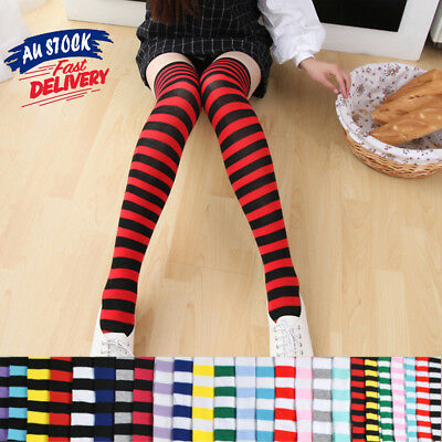 1 Pair Over Knee High Women Lady Japanese Colorful Stripe Stockings Thigh Socks