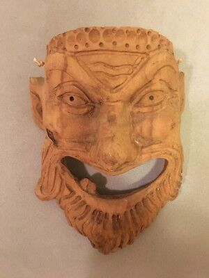 Roman Greek God Face Theater Mask Decor Bacchus Wood carved